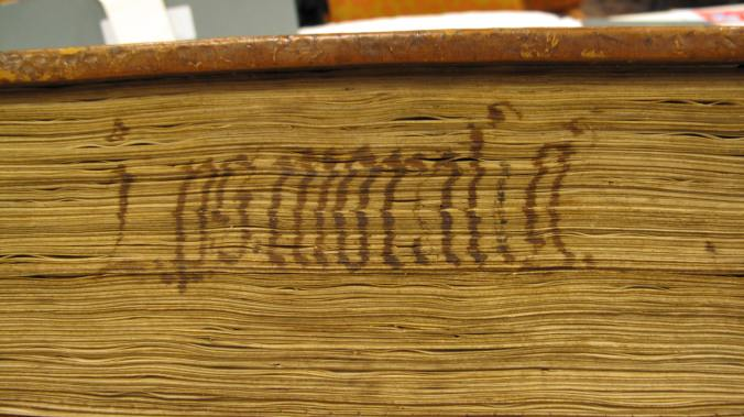 Figure 3, Auckland Libraries, Sir George Grey Special Collections, Med. MS G.132, fore-edge title